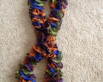 Blue, Green, Orange, and Purple Ruffle Scarf