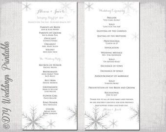 wedding menu and program snowflakes digital files diy