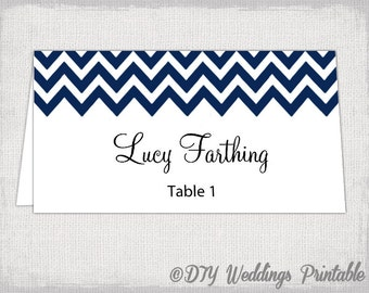 "Place card template ""Chevron"" Navy name cards -DIY wedding printable navy blue place cards  YOU EDIT Word / Jpg Avery 5302 download"