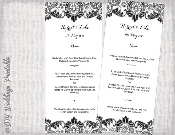 Menu Template Black And White DIY Wedding Menu   Menu Template For Word