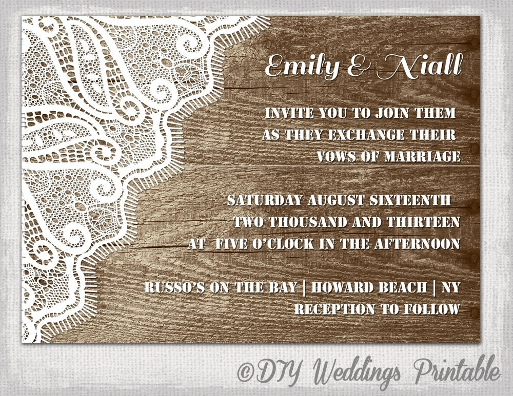 Lace Wedding Invitation Template: Rustic Wedding Invitation Template Wood & Lace
