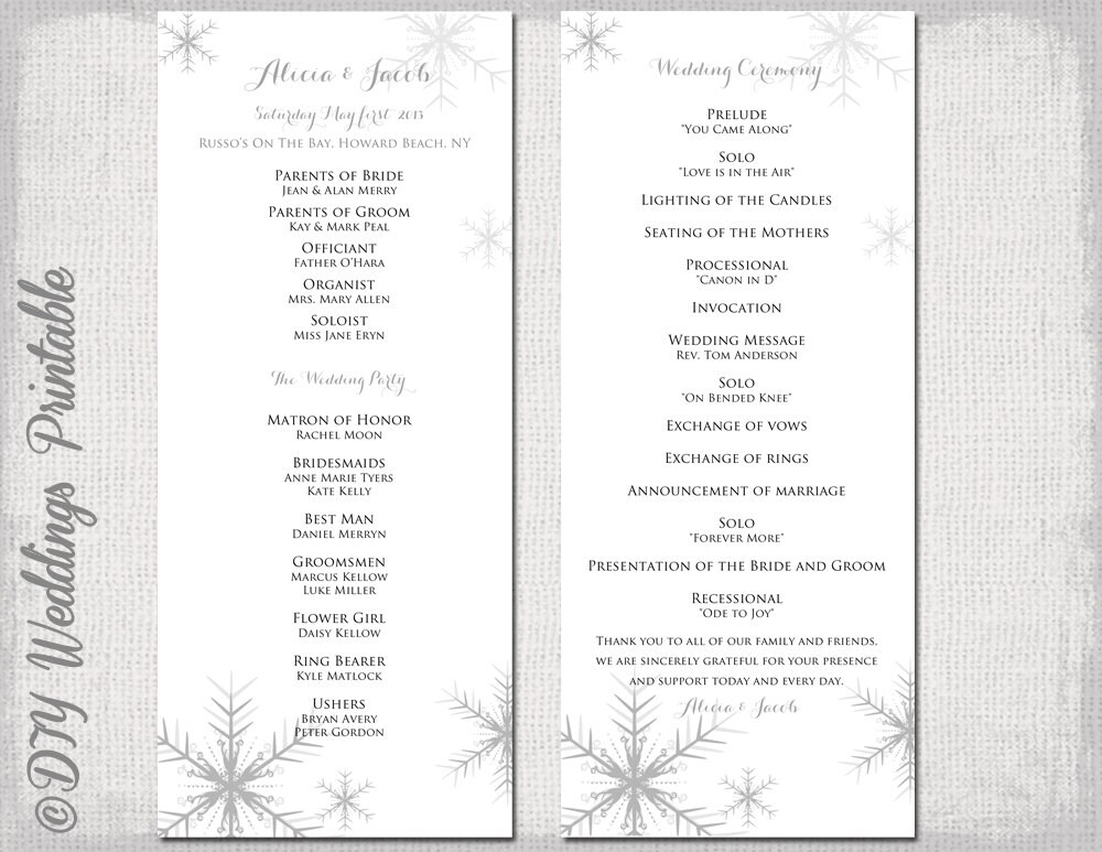 Winter wedding program template Snowflake wedding – Printable Program Templates