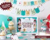 Custom Printable Ice Cream Party Birthday set - digital pdf file