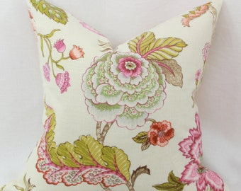 "Pink & green floral decorative throw pillow cover. 18' x 18"" pillow cover. Accent pillow."