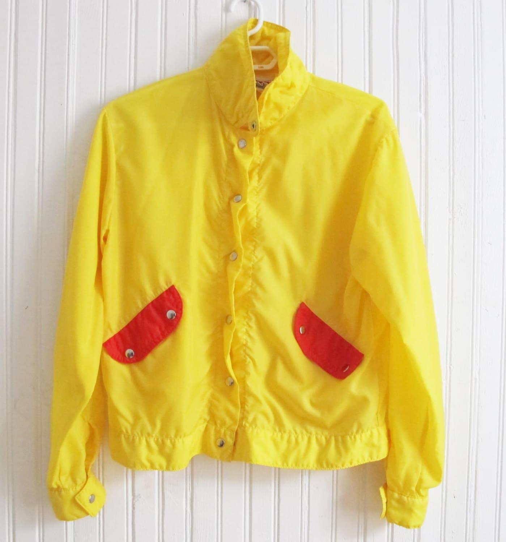 Vintage 1990 yellow raincoat // Yellow Rain Jacket by Ritalulu