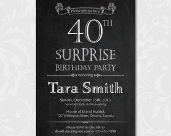 40th surprise birthday invitation. 30th 40th 50th 60th 70th 80th Birthday Invite. Printable digital DIY.