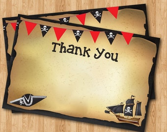 Pirate Thank You Note. Pirate theme thank you card. Birthday Party. Printable digital file DIY. Instant download. Print your own.