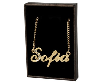 Name Necklace Sofia - Gold Plated 18ct Personalised Necklace with Swarovski Elements