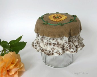 Cosy Chic Linen Jam Jar Cover .