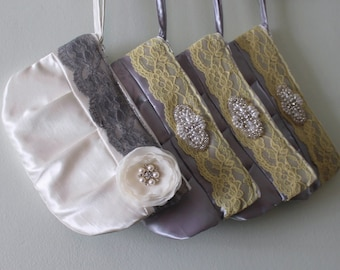 Set of 4 Bridesmaid Clutches - Bridesmaid Gift !!  NEW Larger Size Clutch purse (choose your colours)