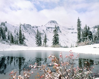 Winter snow Mountain and lake. Winter scene photo for your home and office wall
