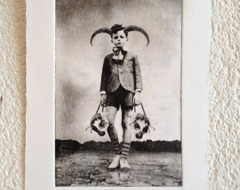 The Boy and The Masks - original black and white art print from the series From the Woods, From the Air, From I don't know Where