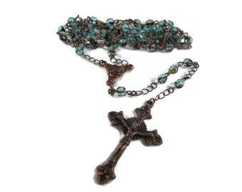 Gorgeous Tortosie-Shell Blue & Brown Crystal Rosary With Copper Cross