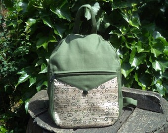 Olive green canvas small backpack