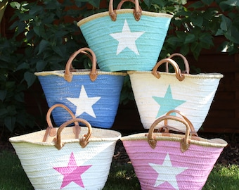Ibiza Beach Bag French market Basket Natural Big Tote Bag with a STAR