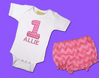 Girl's Birthday Bodysuit with Name and Pink Chevron Bloomers - F38