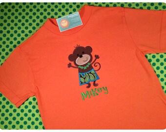 Hula Hawaiian Monkey Shirt for Boys with Embroidered Name