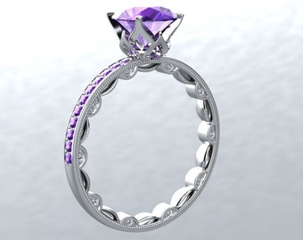 Engagement Ring Amethyst MODERN CHIC LOVE Collection 14kt White Gold Amethyst 6.5mm Natural Diamond Engagement Wedding Ring