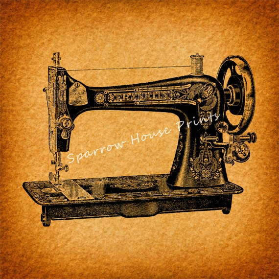 Sewing machine art print wall art home decor antique sewing for Best home decor sewing machine
