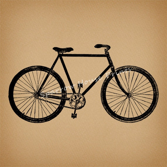 Bicycle vintage print bike home decor by sparrowhouseprints for Bicycle decorations home