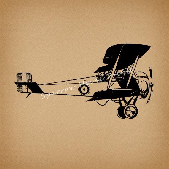 Items similar to Biplane Art Vintage Print Airplane Plane ...