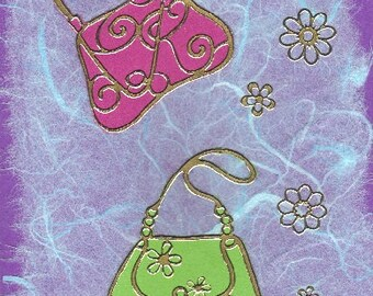 Handmade cards featuring 2 handbags on mulberry silk paper.
