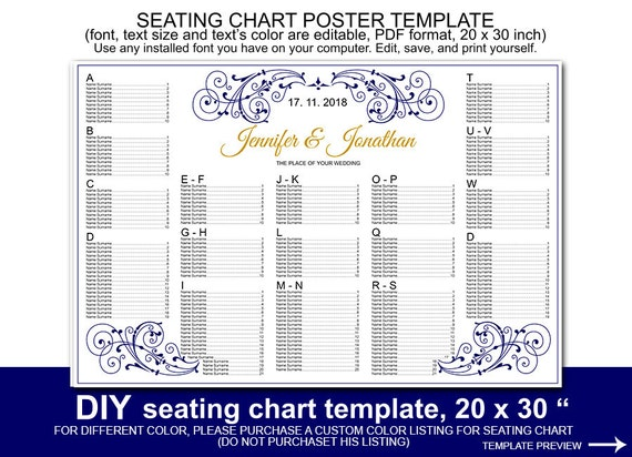 navy blue scroll wedding seating chart poster template. Black Bedroom Furniture Sets. Home Design Ideas