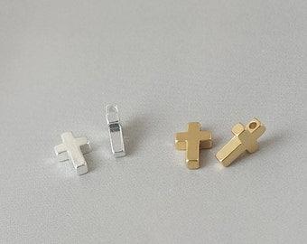 8x5x2mm Gold plated Cross, Pendant, Rhodium plated, Cross, Pendant