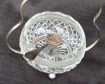 SILVER Plated Relish Dish With Glass Insert and Matching Hanging Silver Plated Spoon Marked Made in England Home Decor Kitchenware Relish