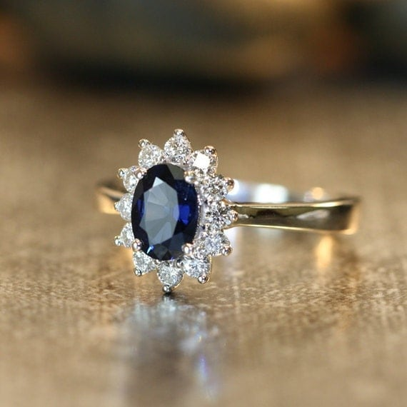 Halo Diamond and Natural Blue Sapphire Ring in 14k by LaMoreDesign