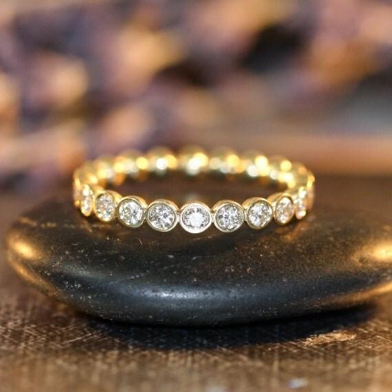 Items Similar To Bezel Set Diamond Eternity Band In 14k