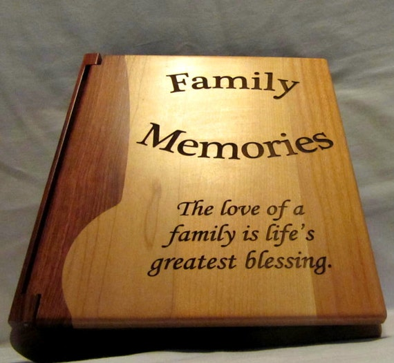 Wooden Wedding Album: Engraved Wood Personalized Photo Album Family