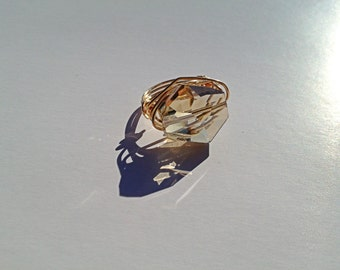 Crystal Champagne Wire Wrapped Ring