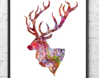 Deer art print - Watercolor painting - Wall Decor - 104