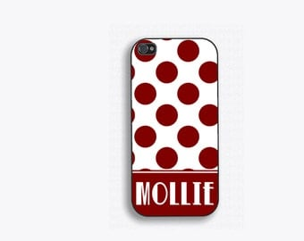 Burgundy Polka Dot Monogram Phone Case, iPhone 4,4s,5,5s,5c,6,6 plus; Galaxy s3,s4,s5,s6, and iPod 4&5  Name phone case FCM140