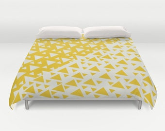 Yellow Triangles Duvet Cover