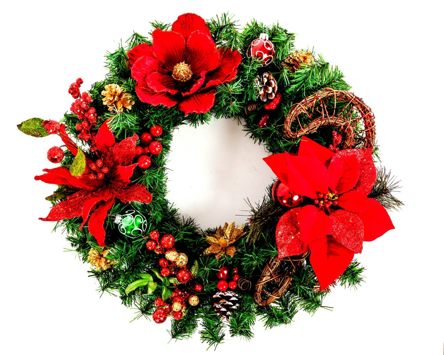 Candy Cane Christmas Wreath - Silk Floral Arrangement
