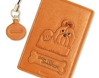 Shi Tzu Champion Dog Leather Dog Commuter Pass/Pass/Card/ID/Badge Case/Holder/Holders *VANCA* Made in Japan #26469 Free Shipping