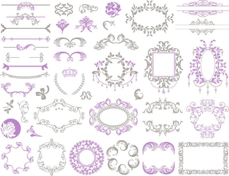 Border For Wedding Invitation Clip Art: Instant Download Digital Border Frame Ornate Clip Art Flourish