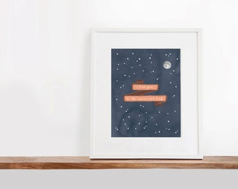 I Love you to the Moon and Back Printable Art, 8x10 inches, Nursery Art, The Moon Art Print, Constellation Art, Watercolor Art Print