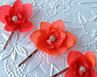 Coral bobby pins Bridal wedding Coral 3 set bobby pin Rhinestones Flower girl clip shoe clips