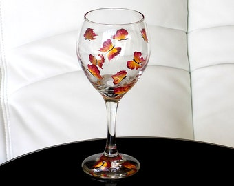 Hand Painted Wine Glass Red Butterflies Yellow Hand Painted Glassware Stemware Custom Hand Painted Wine Glasses Painted Glass Handpainted