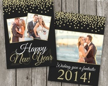 New Year Card Template - Happy New Year Card 2014 - Glitter Celebration New Years Eve - NC01
