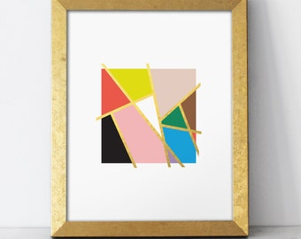 Mondrian Love Print - Gold Foil -  8x10 wall art