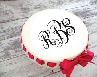 "Small Monogrammed Round Cake Plate ~ Chip and Dip ~ Prissy Plate ~ Ribbon Cake Stand ~ 9.5"" Size"