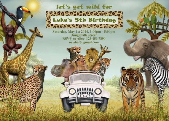 Jungle Animals Safari Birthday Invitation Kids birthday party