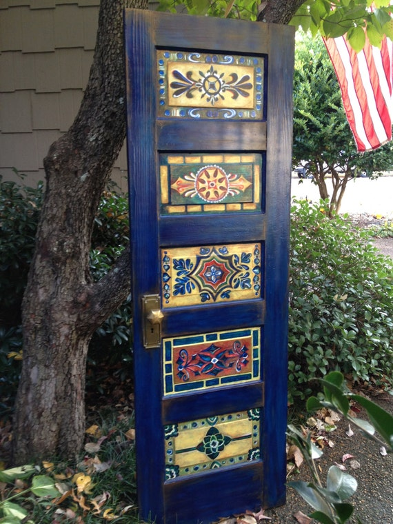 Wood door hand painted antique vintage wall decor or wall for Antique door decoration