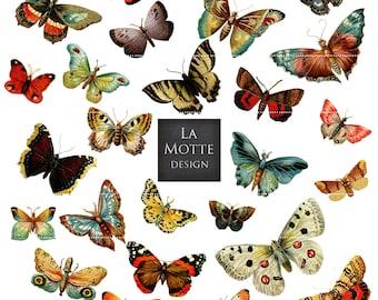 butterfly clipart butterfly scrap clipart vintage butterflies and moths 26 png + 2 letter size jpg butterfly clip art