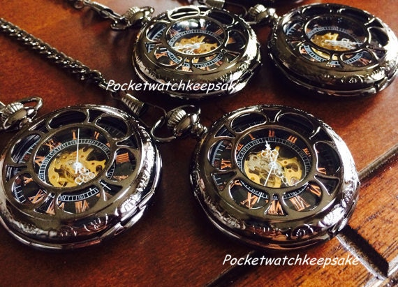 4 personalized pocket watches groomsmen by