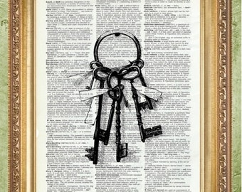 Dictionary Prints Book Page Print Print Vintage Key Art Print